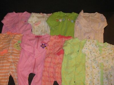 aa3199968 BABY GIRL 3-6 Months Sleepers Sleep   Play Footies Clothes Lot ...