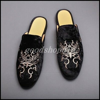 f9c829118955b TRENDY MENS EMBROIDERY Velvet Leather Mule Loafers Slip On Casual Slippers  Shoes