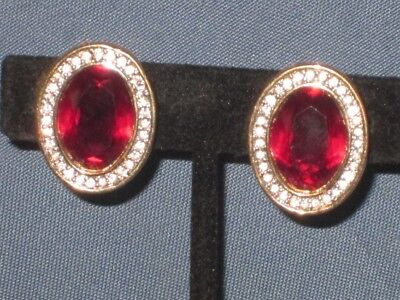 Vintage Signed S.A.L SWAROVSKI Gold-Tone Red & Clear Rhinestone Clip Earrings