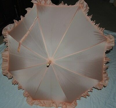 Vintage Peach Parasol Umbrella Celluloid Handle Ruffle Edge 35.5""