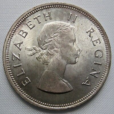 South Africa 1953 Queen Elizabeth Ii Silver 2 1/2 Shillings Coin (Km#51)