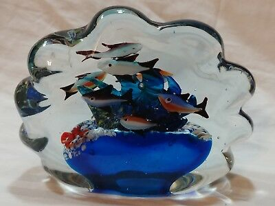 "Vintage LARGE HEAVY Hand Blown Art Glass Paperweight Ocean Scene Fish 7"" L@@K!"