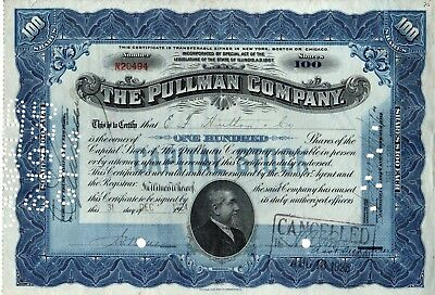 The Pullman Company of Illinois 1924 Stock Certificate - blue