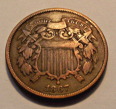 1867 U.S. Two Cent Piece, discolored  (LOT X669)