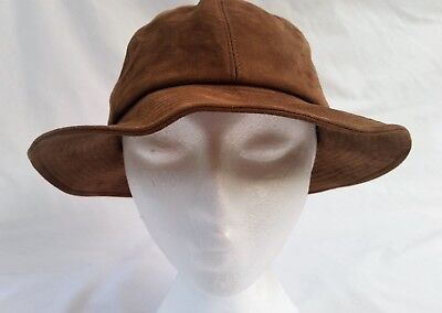 Vintage 70's Women's Brown Suede Wide Brim Boho Leather Hat