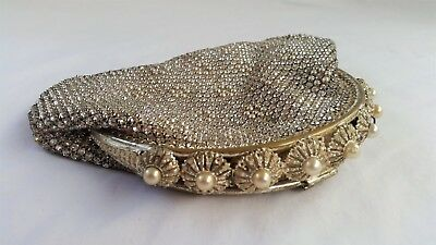 Stunning Vintage 1930's Pearl, Silver & Gold Glass Diamante Evening Bag