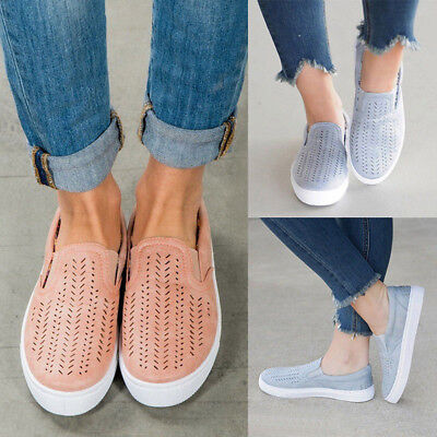 Fashion Women Hollow Out Shoes Round Toe Platform Flat Heel Slip on Casual Shoes