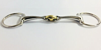 EGGBUTT CURVED STAINLESS STEEL 25 DEGREE DOUBLE JOINTED LOZENGE SNAFFLE  Bits