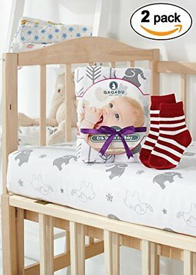 Crib Sheets 2 Pack Organic Fitted Sheet Set For Baby Girl & Boy as Toddler Bed