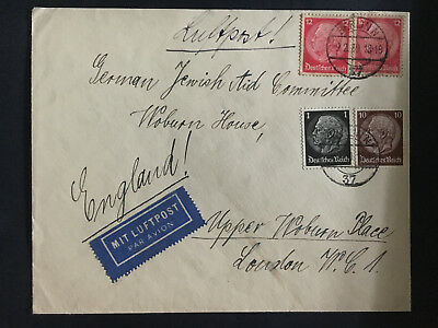 1939 Berlin Germany Cover to England German Jewish Aid Committee Judaica