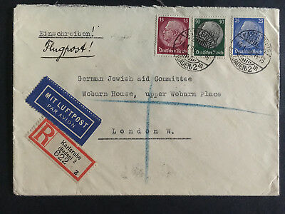 1939 Karlsruhe Germany Cover to England German Jewish Aid Committee Judaica