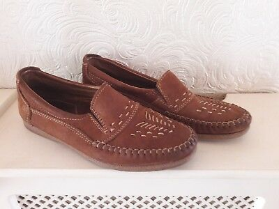 Men's Red Horn Brown Suede Leather Loafers Size 41 eu 7 uk