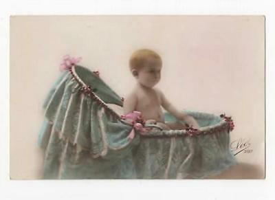 VINTAGE FRENCH RP POSTCARD,SWEET BABY IN BASSINET,LEO 397,c1920
