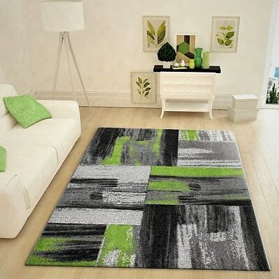 BLACK GREY ABSTRACT Rug Green Pattern Soft Pile Carpet ...