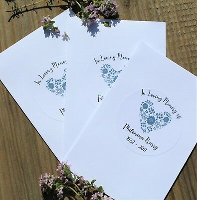 10 x Wildflower Seed Funeral Memorial Favour Packets White Enelope PERSONALISED