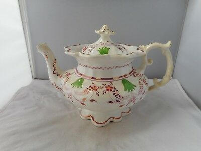 19thc POTTERY TEAPOT-15cms high and 25cms long