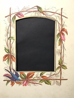 Antique Photo Album Mount Board Page Chromolithograph Print Blue Bird Autumn #6