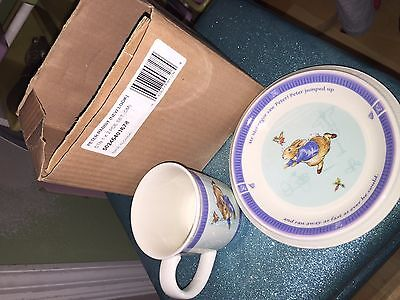 Wedgwood Peter Rabbit Child's 2 Piece Plate & Cup  England 2 Pieces Bed-time NEW