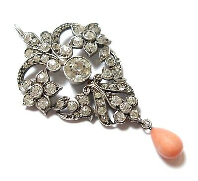 Stunning Antique Edwardian Ornate Silver Paste Stones & Coral Pendant Af (C1)