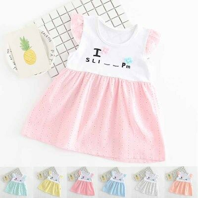 Girl Kid Baby Skirt Princess Dress Printed Casual Cotton Soft Summer Gift Party