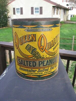 Queen Quality 10 Lb Salted Peanuts Tin Advertising / Lancaster, Penna