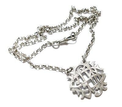 Stunning Old Antique Victorian Silver Monogram Gothic Chain Necklace (C3)