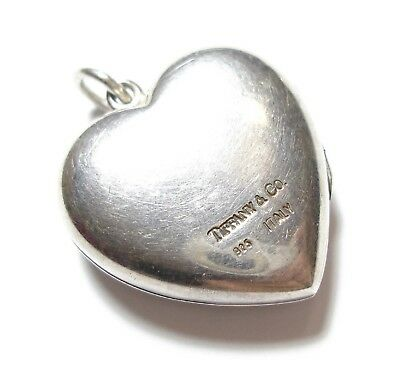 Stunning Vintage Silver Tiffany & Co Heart Chunky Pendant Locket For Chain (C4)