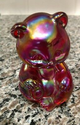 Fenton Glass Red Carnival Sitting Bear