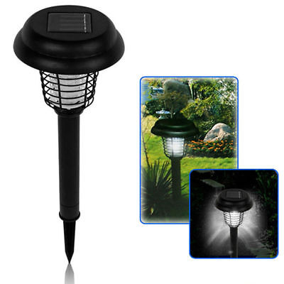 Solar Powered LED Light Mosquito Fly Insect Zapper Killer Garden Outdoor Lawn
