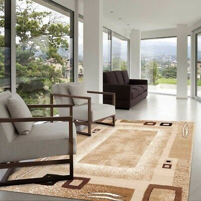 Extra Large Floor Rug Beige Brown Modern All Sizes Available FREE DELIVERY
