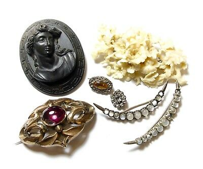Collection Of Old Antique Brooches Joblot (C11)