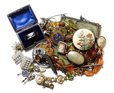 Large Varied Collection Of Old Jewellery Bits Joblot (C12)