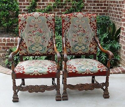 Antique French Oak PAIR Renaissance Revival Needlepoint Arm Chairs Red Floral