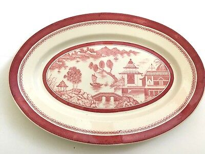 Rare Vtg Antique Old Ivory O P Co Syracuse China Scenic Asian Theme Platter Pink