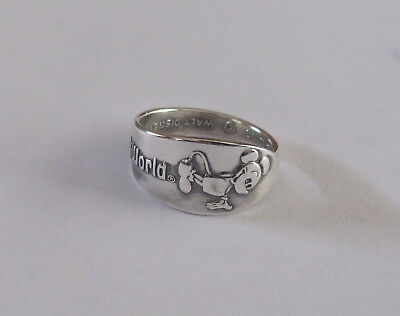 Sterling Silver Spoon Ring - Disney / Mickey Mouse - size 8 - c. 1970's
