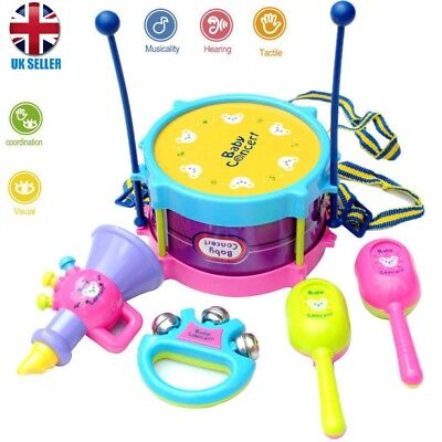 5Pcs Baby Boy Girl Drum Musical Instruments Drum Set Children Concert Toys UK