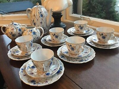 USSR LOMONOSOV BLUE PURPLE FLORAL COFFEE SET NET PATTERN 22k GOLD 21 pieces