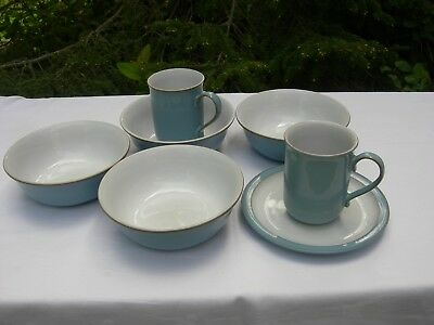 Denby - Colonial Blue - 2 Mugs / 4 Cereal Bowls / 1 Tea Plate -
