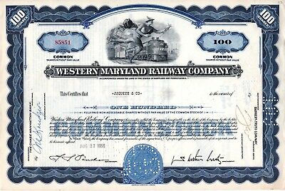 Western Maryland Railway Company of Pennsylvania 1956 Stock Certificate