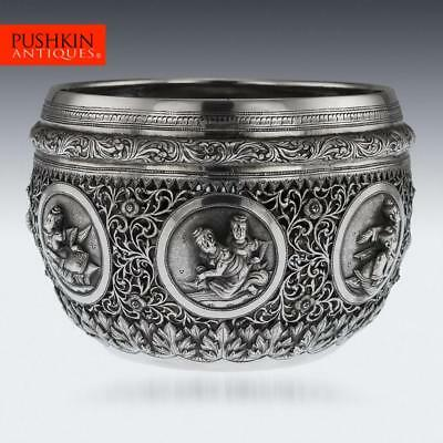 ANTIQUE 20thC BURMESE SOLID SILVER BOWL, RANGOON, ELEPHANT MARK c.1900