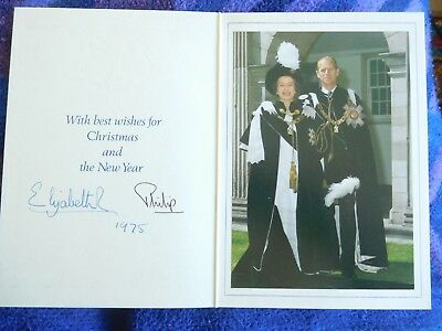 Queen Elizabeth II and Prince Philip rare 1975 Christmas card