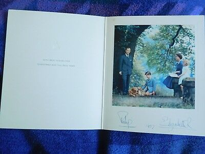 Queen Elizabeth II and Prince Philip rare 1957 Christmas card