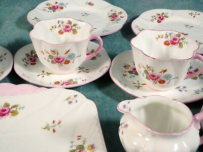 Vintage Shelley Rose and Red Daisy 13425 Dainty Tea Coffee Set Cups Bone China