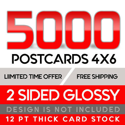5000 Custom Full Color 4x6 12PT Postcards w/UV Glossy - Free Shipping