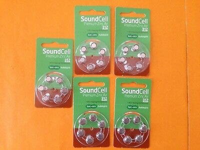 New 5 packs, Soundcell Premium 312, PR41, 1.45v hearing aid batteries.