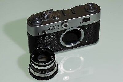 Fed 3 Vintage Russian Camera with Industar 61  52mm f2.8 Rare dedication plate