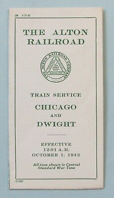 Alton Railroad - Chicago and Dwight Pocket Time table - October 1942