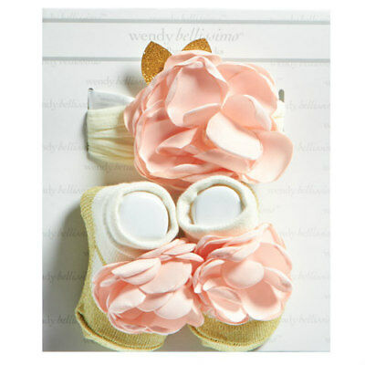 WENDY BELLISSIMO Baby Girls Blush Flower Headband with Booties Size 0-6M NEW