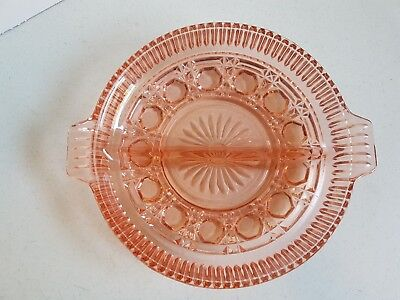 Vintage Depression Cut Glass Pink Divided Pickle Dish 8.5 inches Wide