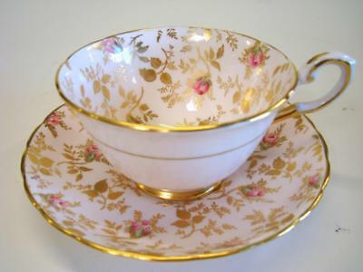 Very Lovely Tuscan Bone China Teacup and Saucer Blush Pink w/ Gold + Rosebuds